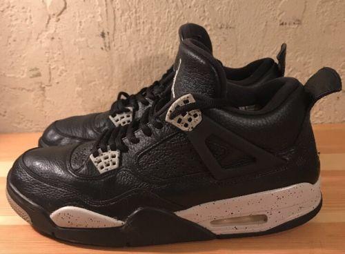 Preowned Air Jordan Retro 4 Oreo 314254-003 Men's Blk/Gry Size 11