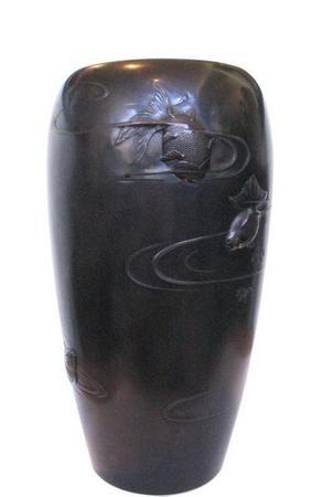 Antique Japanese Bronze Vase with Goldfish, Meiji Period