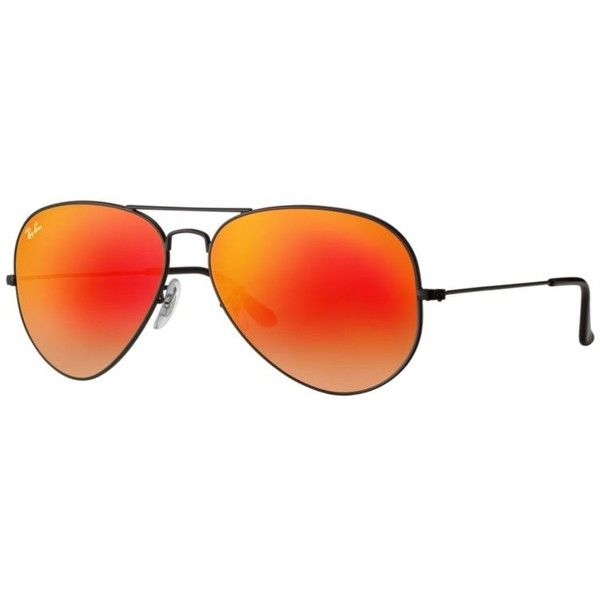 Ray-Ban Aviator Black Sunglasses, Orange Flash Lenses - Rb3025 ($175) ❤ liked on Polyvore featuring accessories, eyewear, sunglasses, black, aviator sunglasses, ray ban aviator, mirrored aviator sunglasses, aviator style sunglasses and mirror aviator sunglasses