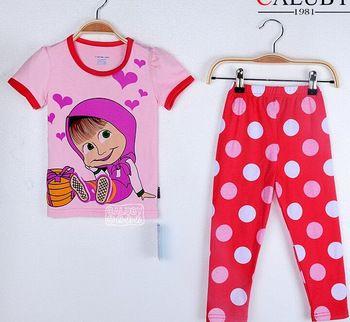 Nieuwe aankomst 2-7 jaar oud en de russische pop masha geanimeerde beer cartoon meisjes lange- mouwen past katoen pyjama set