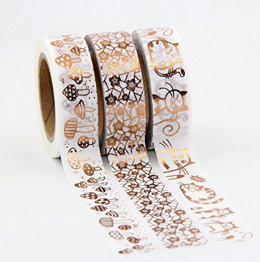 Set Of 3 Copper/Rose Gold Foil Washi Masking Craft Tapes
