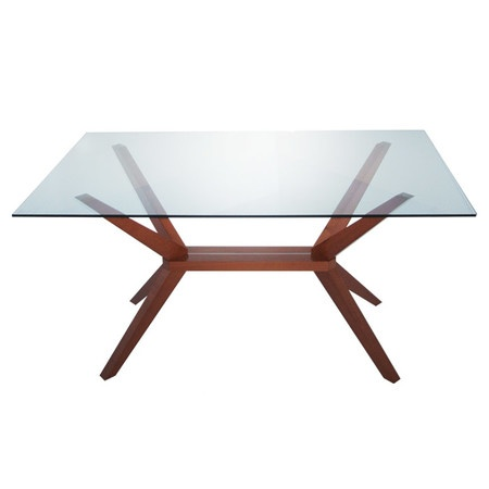 Angled wood dining table with a glass top product dining for Best dining table material