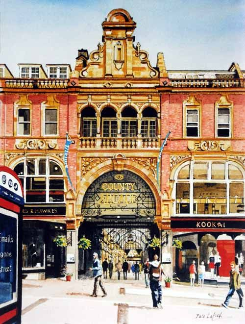 County Arcade, entrance from Briggate, watercolour by Pete Lapish