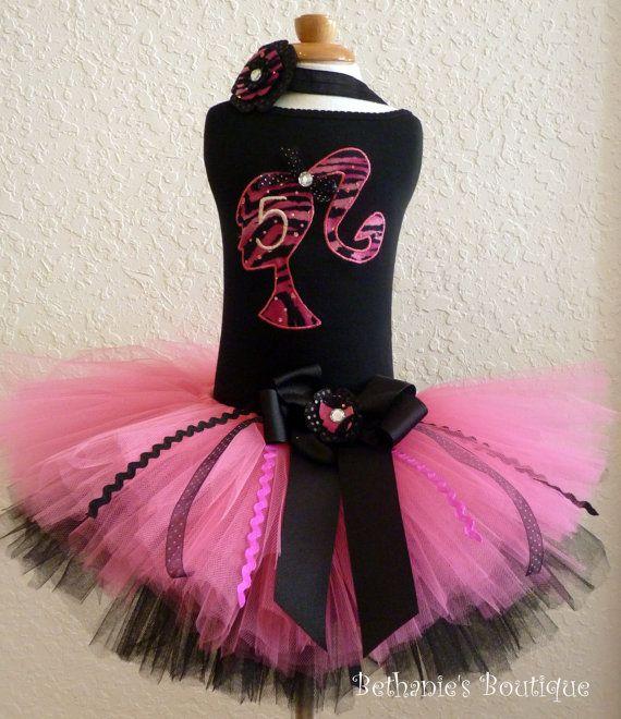 Pink Zebra Barbie Girl TuTu Set Great for Birthday by TooTuTuCute, $46.00Girls Tutu, Kids Parties, Kids Bday, Barbie Girls, Birthday Outfit, 6Th Birthday, Tutu Sets, Bday Parties, Barbie Tutu