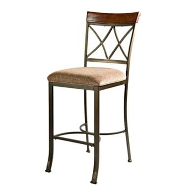 Powell Cafe Cherry Bronze Fabric Wood Metal Hamilton Bar Stool