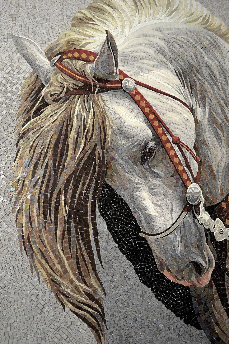 Andalusian horse made by Mosaico Arte e Mestieri, glass mosaic, #mosaichorse