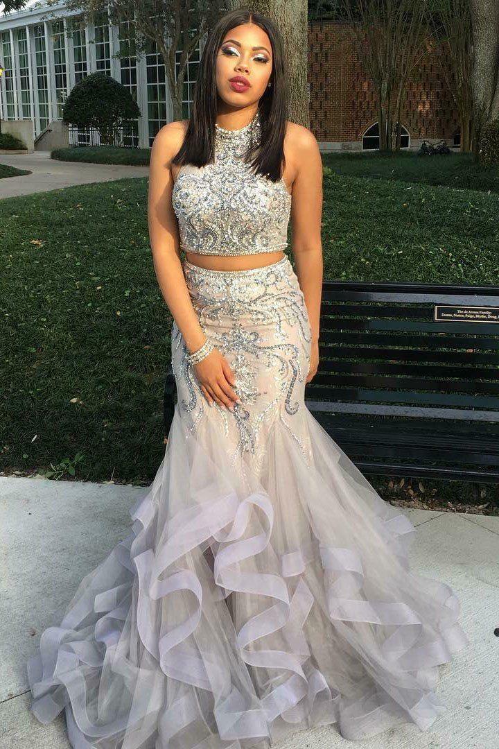093bc50cec057 Rhinestone Jewel Neck Sleeveless Two Piece Mermaid Prom Dresses –  dressmelody