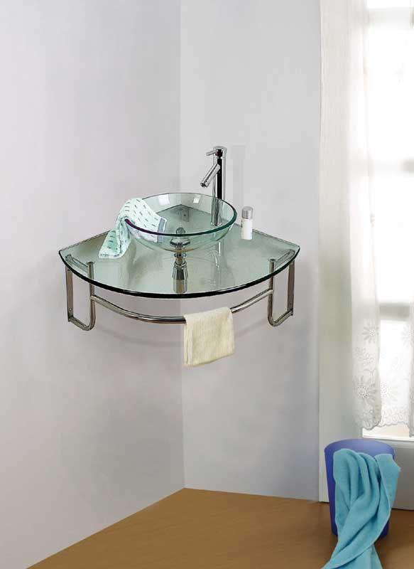 Corner Bathroom Glass Washbasin With Stainless Steel Rack Lavabos De Bano Decoracion De Interiores Lavabos