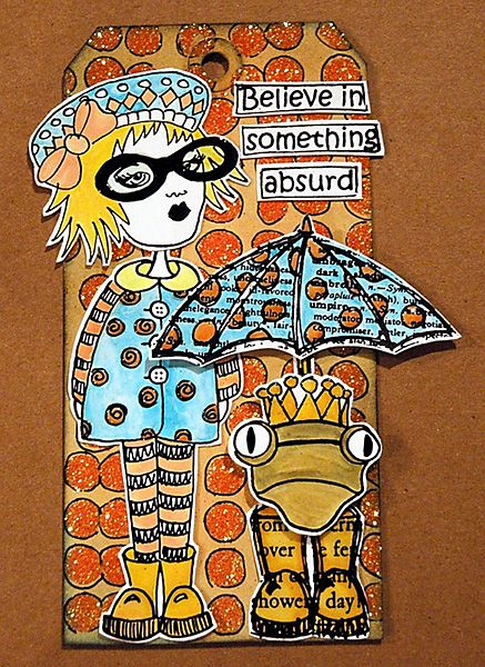 Make this whimsical Tag with Dylusions Stamps and Stickles Dry Fine Glitter.