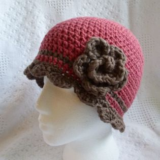 Click for pattern information http://crochetbydarleenhopkins.com/patterns/hat-flapper-waiting-for-spring/ donated to Halos of Hope, 2013 charity crochet chemo hat #halosofhope