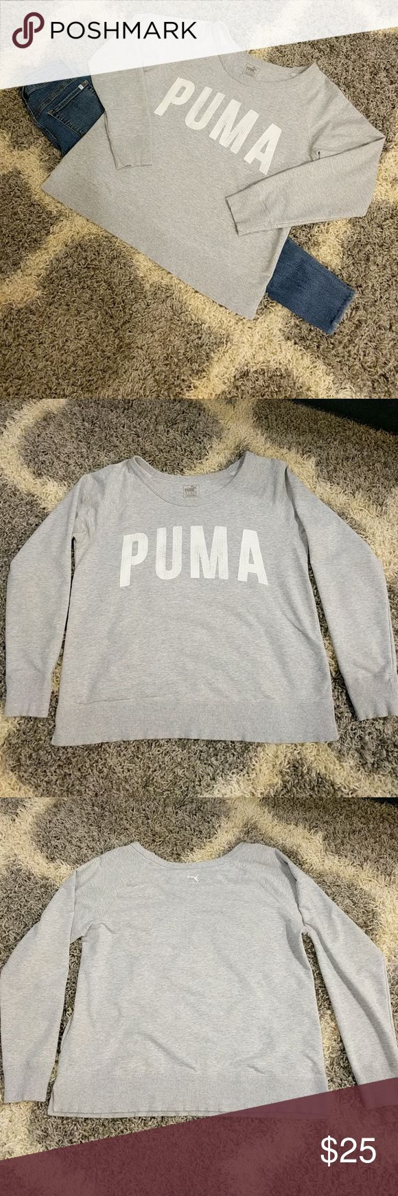 Light weight Puma sweatshirt Light gray light weight Puma sweatshirt.  25 inches long, 21 inches at the bust, 27.5 inch long sleeves. Wide neck at 17 inches across. In great shape. Puma Tops Sweatshirts & Hoodies