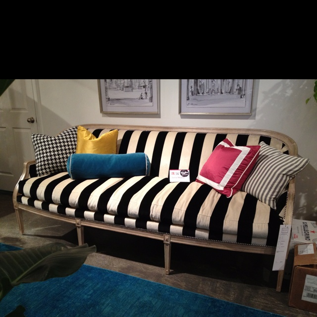 love the classic black and white stripe in an interesting velvet texture at lillian august striped chairsup