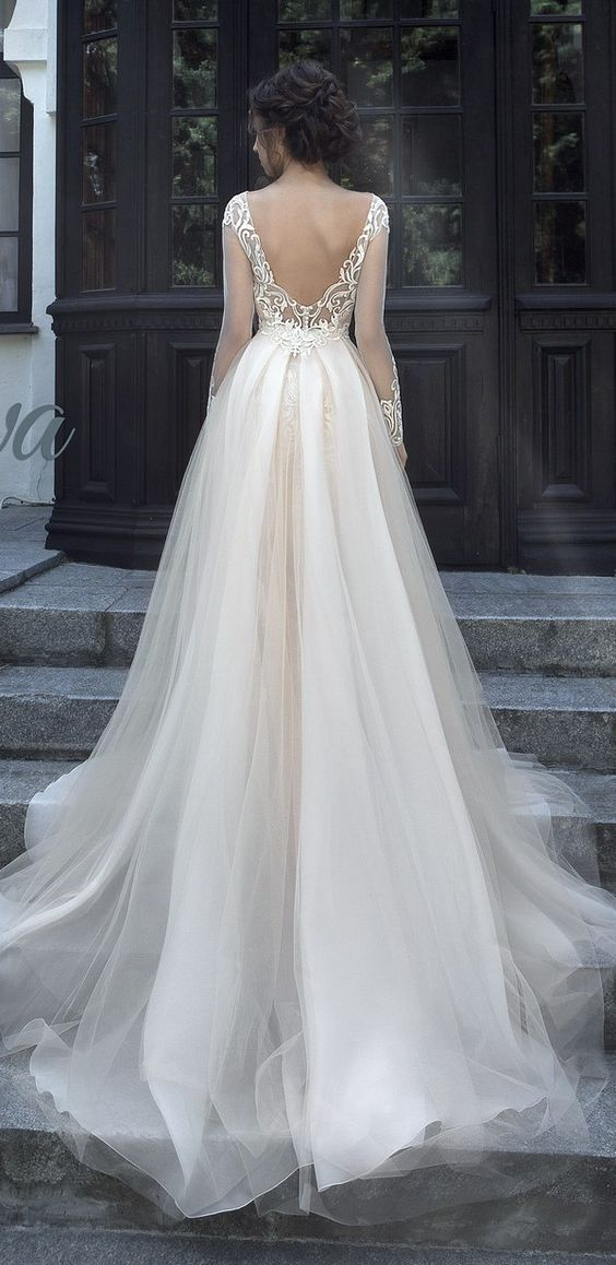 Sheer Long-Sleeve Tulle Ballgown Wedding Dress