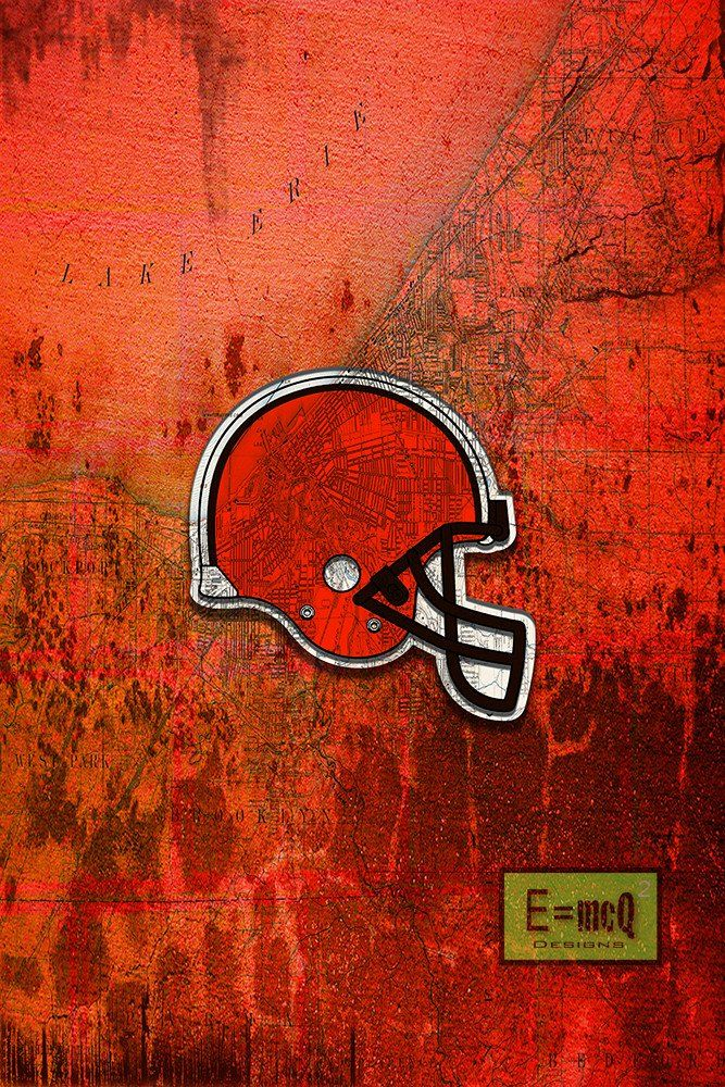 Cleveland BROWNS Football Poster, Cleveland Browns Sports Print, Brown                      – McQDesign