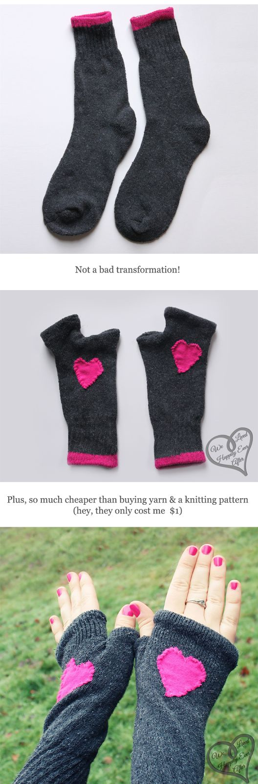 Finger-less Gloves made from Socks! Can't believe I didn't think of doing this. So easy!