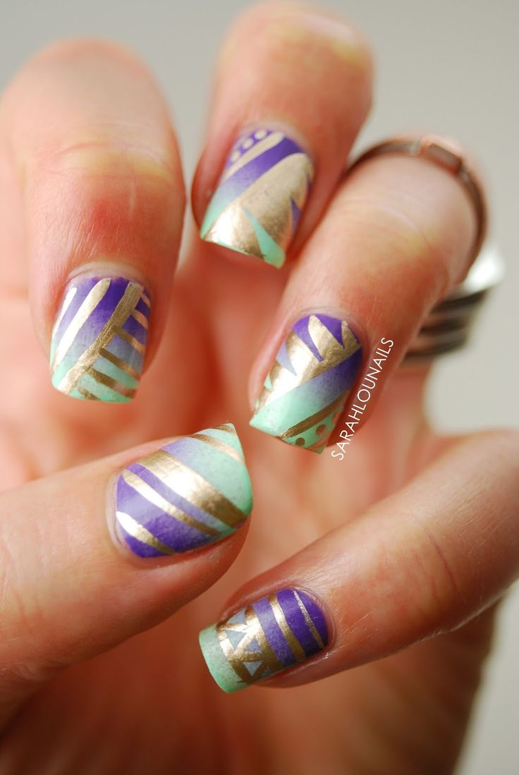 Sarah Lou Nails: Gradient Tribal Print #nail #nails #nailart