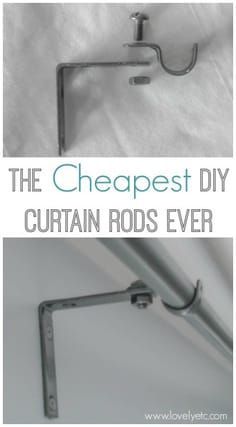 Forget buying expensive curtains rods - this DIY version is super simple to make. All you need are some inexpensive supplies from the hardware store. #lovelyetc #diyhomedecor #curtainsrod