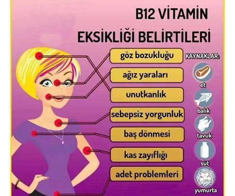 B12 Vitaminin Bulunduğu Besinler-Eksiklik Belirtileri