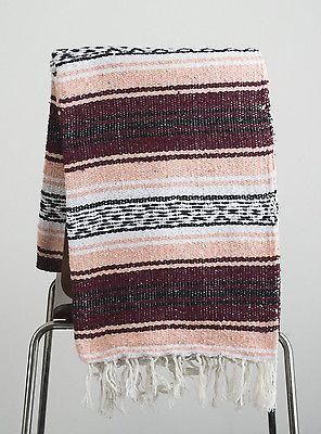 Mexican Blanket Coral & Burgundy Yoga Blanket, Hand Woven, Sarape, Throw Falsa