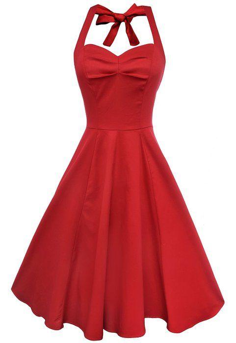 Anni Coco Women's Halter 1950s Vintage Swing Tea Dresses TruRed XX-Large