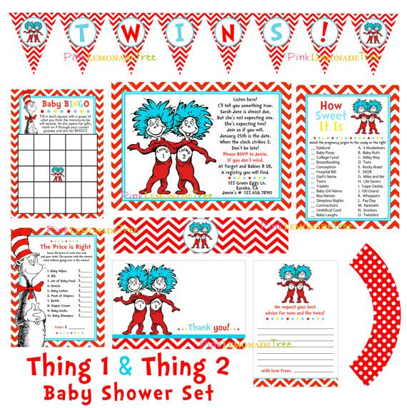 Dr. Seuss Thing 1 Thing 2 Twins Baby Shower By PinkLemonadeTree, $19.99
