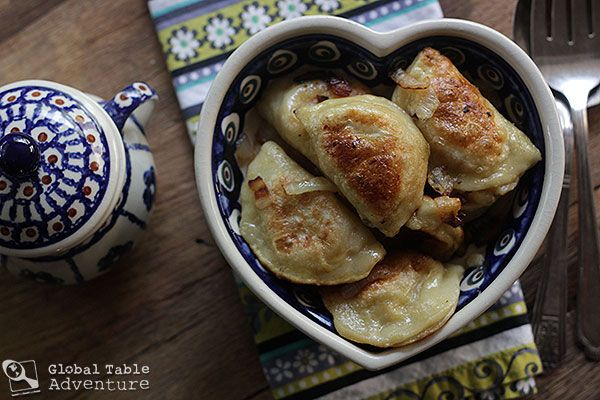 cheese and potato pierogi (note farmers cheese is cottage cheese)