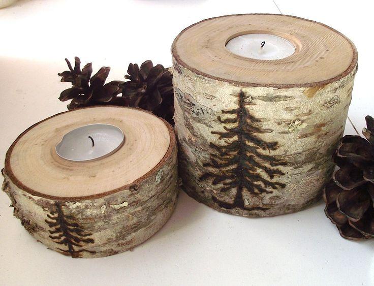 Wood Tea Light Candle Holders (Set of 2) - Wood Burned Spruce Tree on Reclaimed Cherry Wood Tree Branch - Woodburning. $19.95, via Etsy.