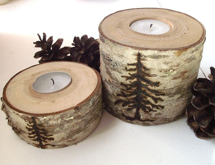 Wood Tea Light Candle Holders (Set of 2) - Wood Burned Spruce Tree on Reclaimed Cherry Wood Tree Branch - Woodburning. $19.95, via Etsy.