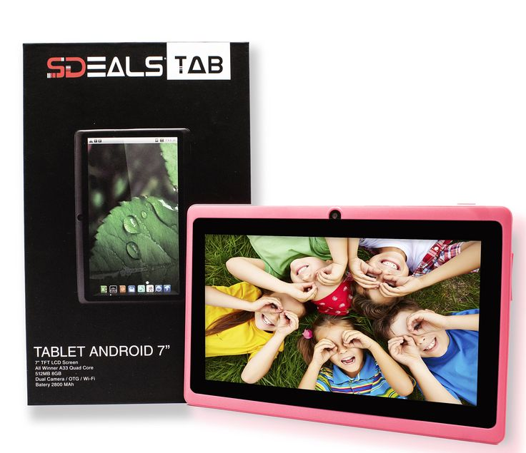 "Sdeals QuadCore A33 Google Android 4.4 KitKat Tablet PC with Touchscreen, 8 gb inner storage Bluetooth, HD 0.3MP Dual Camera with flash, Google Play Pre-loaded, 3D-Game Supported (PINK). SDEALS SD-7A23Q8 easy to use tablet with 4.4.2 KitKat OS android version comes in three different colors. 7"" TFT LCD 800*480 Pixels resolution on Screen with dual Front/Rear Cameras 0.3MP+Flash each. Powerful A33 Quad core processor for Web browsing, music, video and running games smoothly. Battery Type:..."