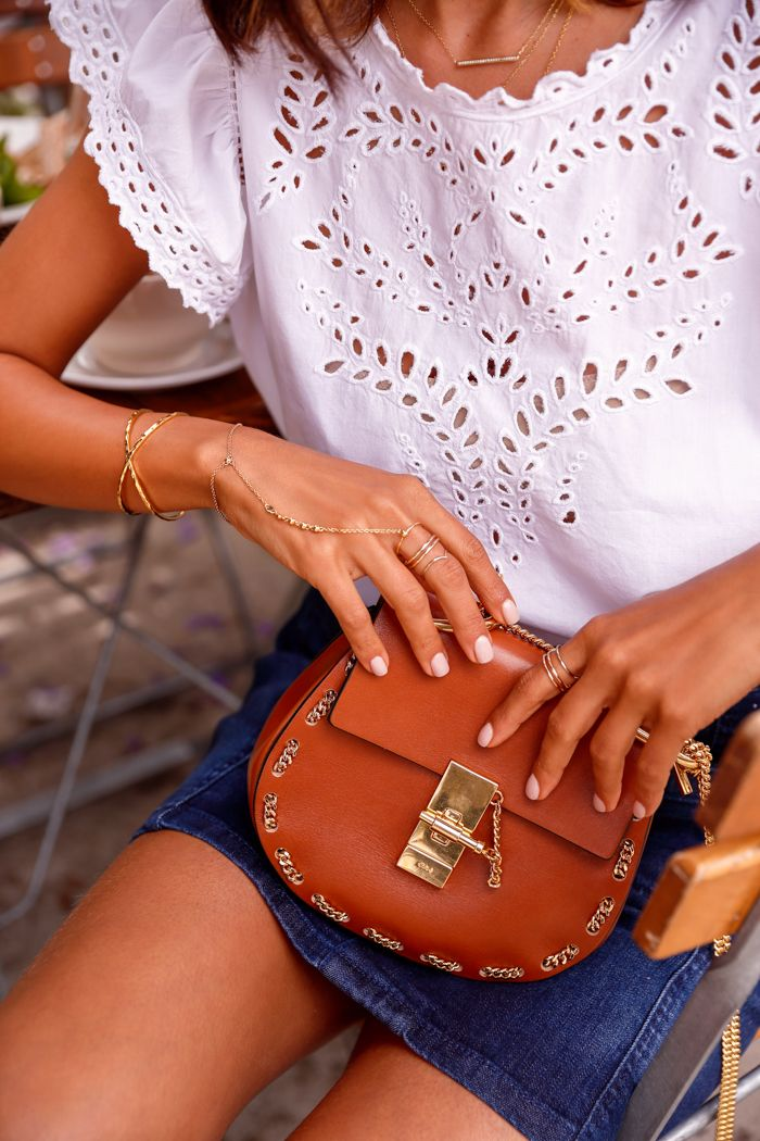 VivaLuxury - Fashion Blog by Annabelle Fleur: DREW DIARIES :: VIVALUXURY FOR CHLOE. CHLOE small Drew bag   ETOILE ISABEL MARANT Salvia broderie anglaise cotton top    GORJANA Elea cuff & Bali hand chain