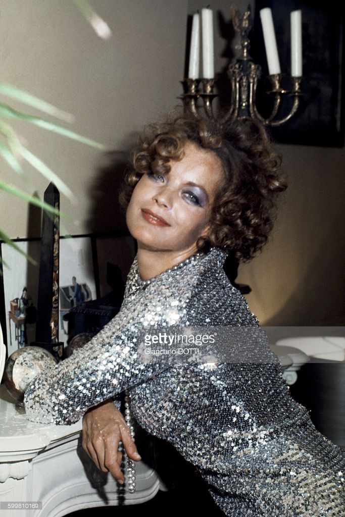 Austrian born actress Romy Schneider at home in France, in 1974 .