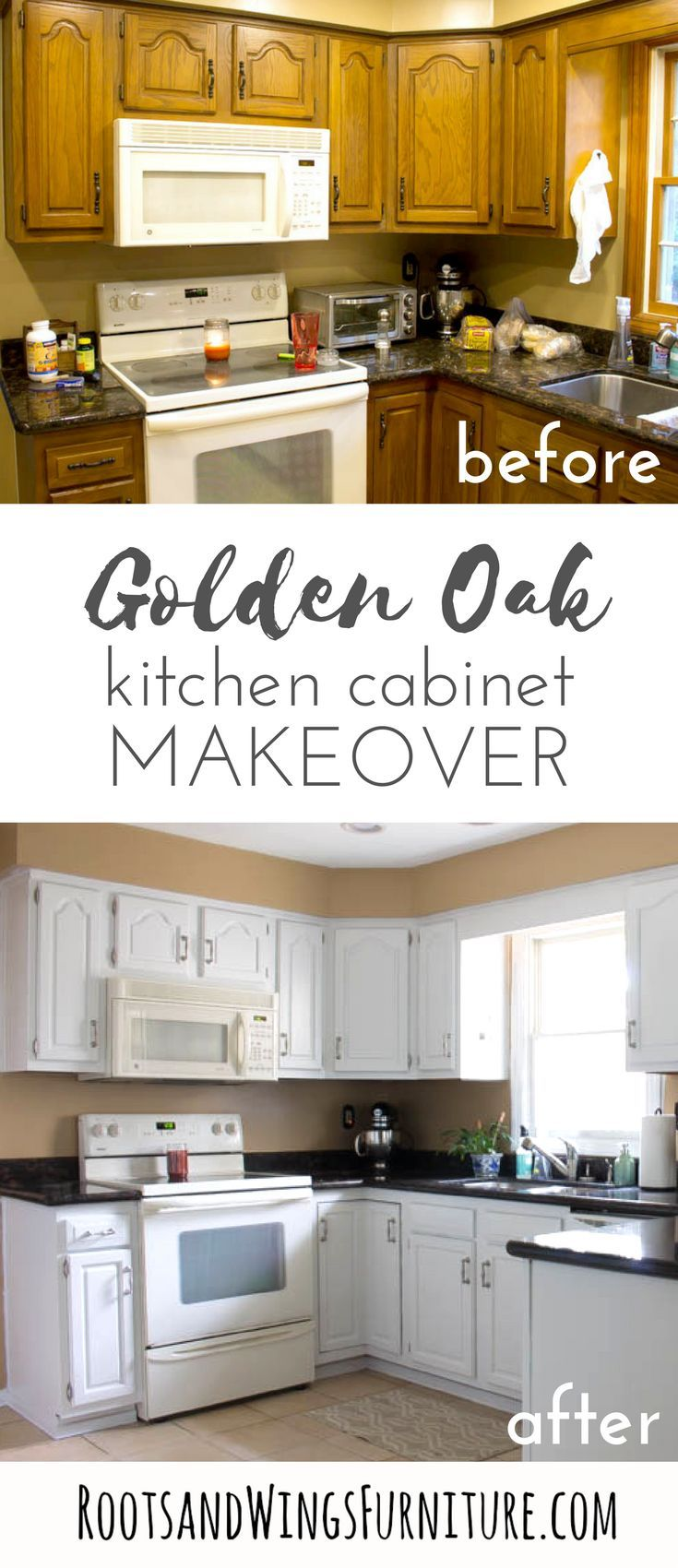 How To Paint Your Kitchen Cabinets White Roots Wings Furniture Llc Oak Kitchen Cabinets Kitchen Design Diy Kitchen Cabinets Makeover