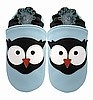 Sky Blue Boys Owl Leather Baby Shoes