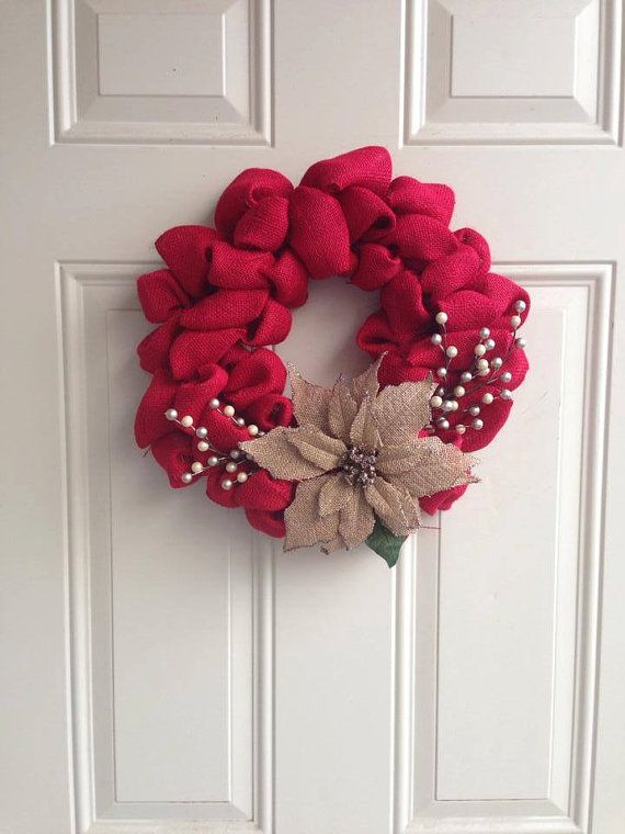 Christmas Red Burlap Wreath with burlap glitter poinsettia