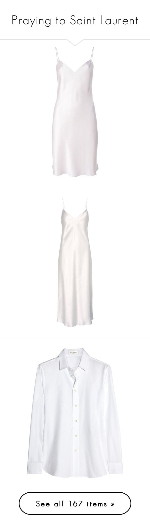 """""""Praying to Saint Laurent"""" by crasher-caroline ❤ liked on Polyvore featuring dresses, short dresses, vestidos, short white dresses, white cami dress, white ruffle dress, loose dresses, short loose dresses, cocktail dress and white"""