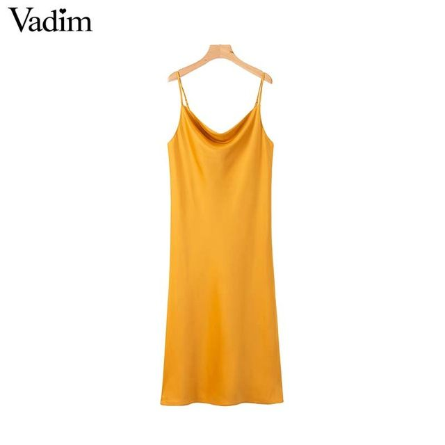 Women solid sleeveless midi dress spaghetti strap backless casual mid calf dresses summer chic cosy vestido qb472