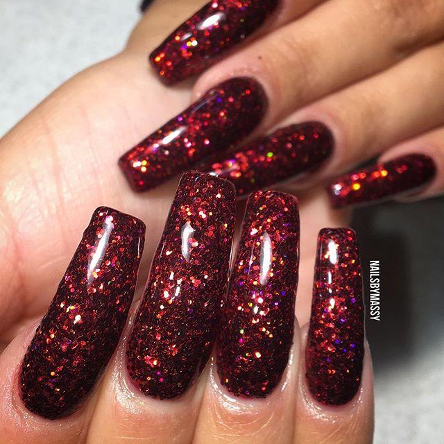 This Burgundy Glitter 🔥 Nails Njnails Nycnails Hudabeauty Nj Nyc Glitter Thenaillife