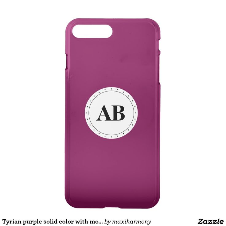 Tyrian purple solid color with monogram iPhone 7 plus case