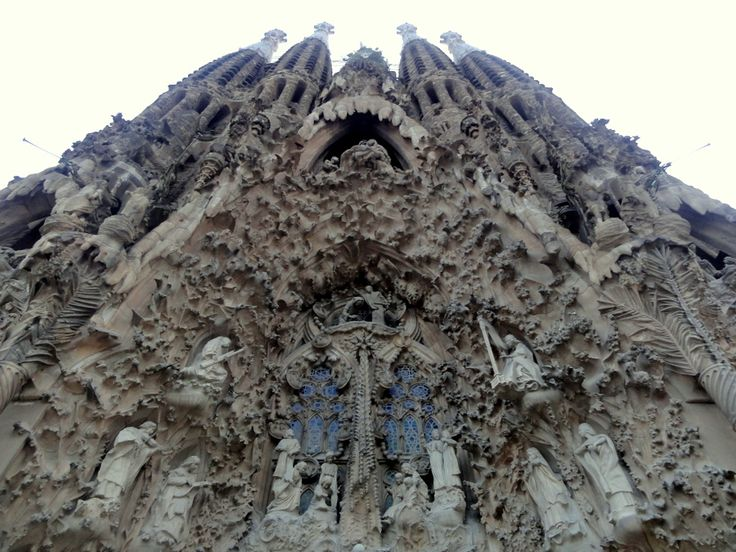 The facade of Sagrada Familia in Barcelona.