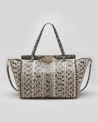 Valentino – Rockstud Medium Snakeskin Tote Bag, Ivory $4,695  (via Print is the Fashion Trend for Spring 2013 http://wp.me/p2GhXF-JP )