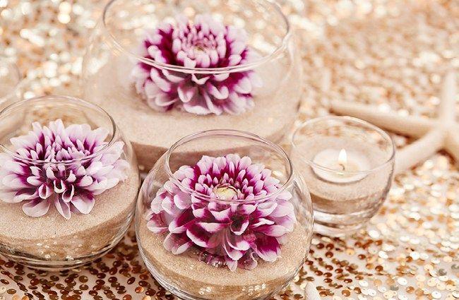 diy Wedding Crafts: Single Flower & Sand Centerpieces - http://www.diyweddingsmag.com/diy-wedding-crafts-single-flower-sand-centerpieces/