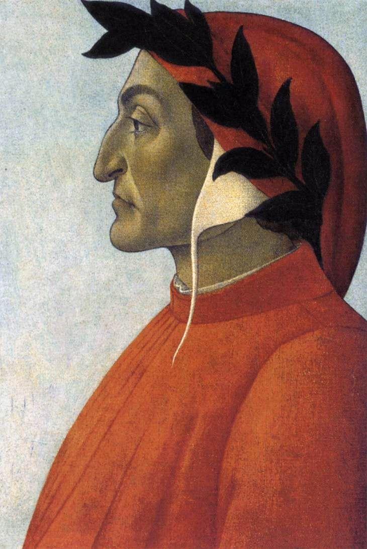 Sandro Botticelli - Retrato de Dante (temple sobre tabla Quattrocento)