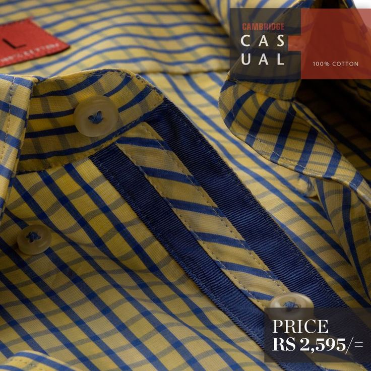 Semi-formal pure cotton shirts. Available in stripes and checks - Yellow ..!!!! Shop Now : http://goo.gl/GoF1pd
