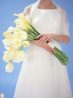 I'm cradling my smaller just calla lilly bouquet like this down aisle
