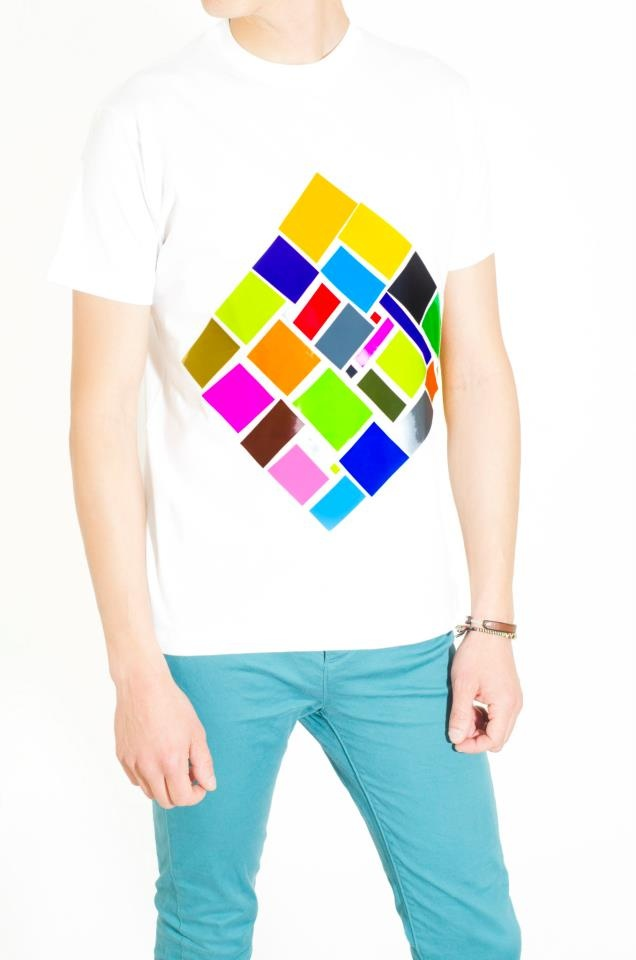 Cotton White T-Shirt Design : Rhombus