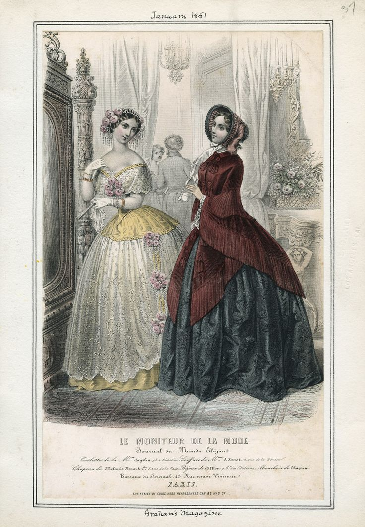 Evening Dress and Day Dress, January 1851.  SLEEVES. (source: Casey Fashion Plates @ LA Public Library)