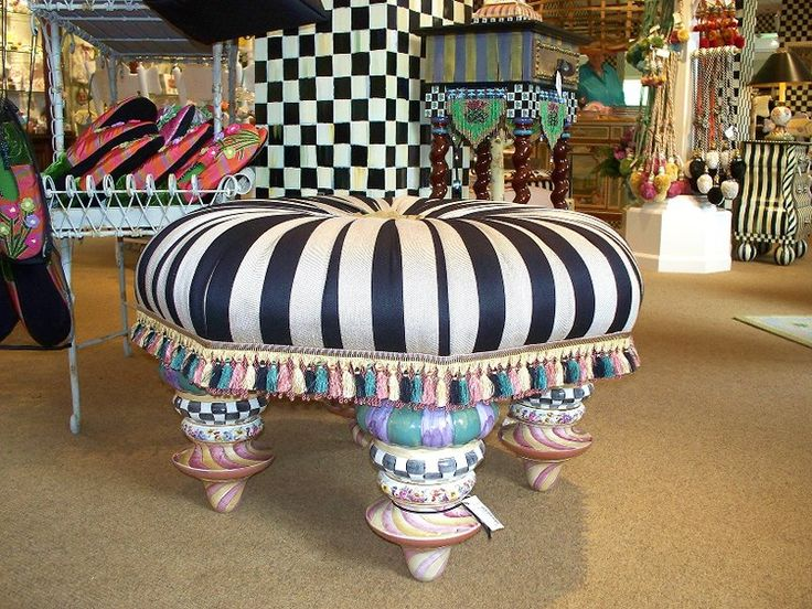 I have coveted this MacKenzie Childs Ottoman for many years.  Look at it's legs! Sooooo cute!