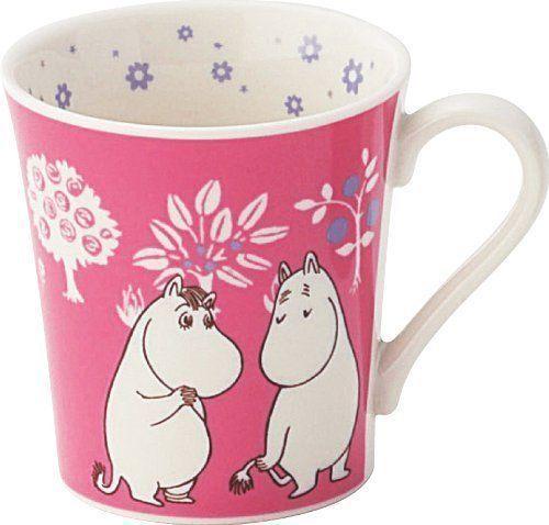 Moomin Valley Mug Cup Yamaka retro flower PINK