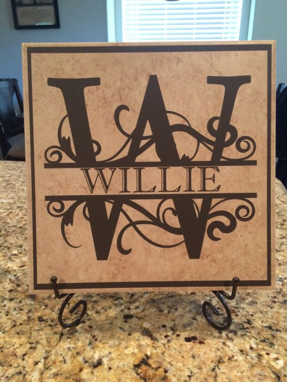 personalized last name monogram tile perfect holiday or wedding gifts
