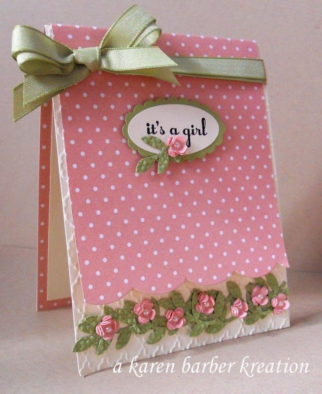The 598 best cards flowers handmade images on pinterest flower sweet pink its a girl baby cardi love the row of leaves and flowers a karen barber kreation suo challenges thecheapjerseys Gallery